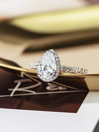 Pear Cut Halo Diamond Engagement Ring