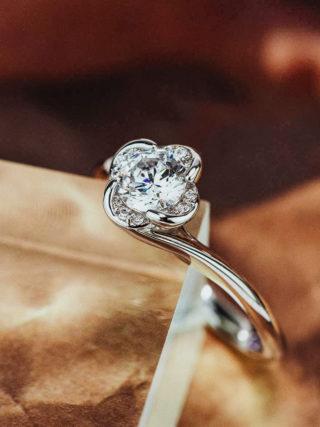 Four Leaf Clover Flower Diamond Engagement Ring