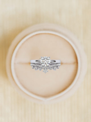 The Royal Ring Set - Diamond Solitaire Engagement Ring and Crown Curved Wedding Band