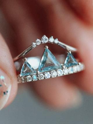 Aquamarine Mountain Crown 3-Ring Set