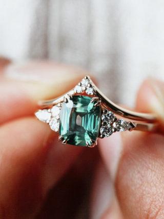 Peacock Teal Cushion Sapphire Ring with Chevron Diamond Band Set